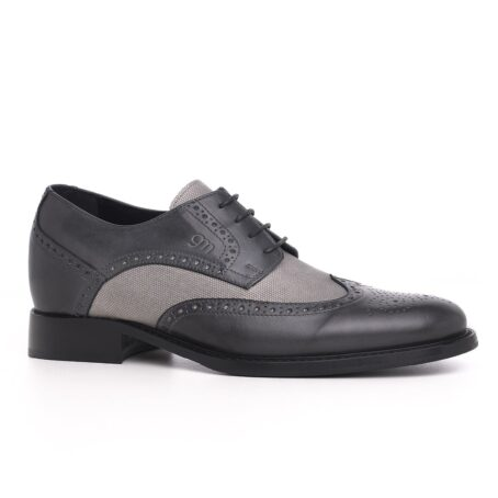 grey brogue wingtip derby shoes with light grey fabric details 1