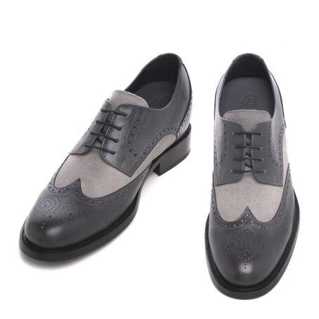 grey brogue wingtip derby shoes with light grey fabric details 2