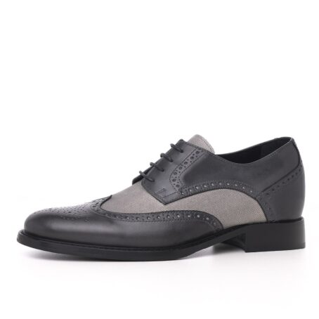 grey brogue wingtip derby shoes with light grey fabric details 3