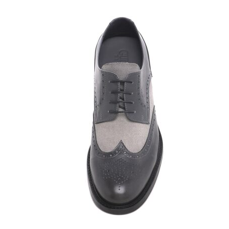 grey brogue wingtip derby shoes with light grey fabric details 4