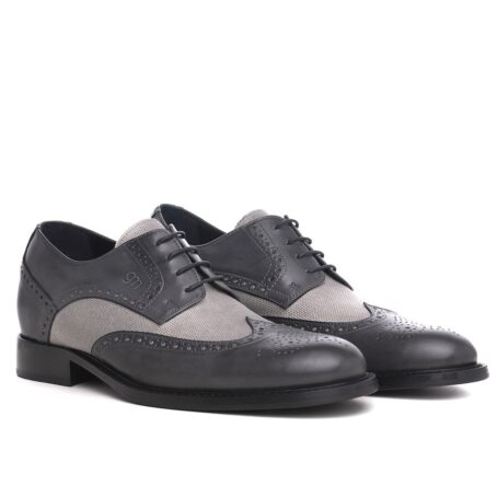 grey brogue wingtip derby shoes with light grey fabric details 5