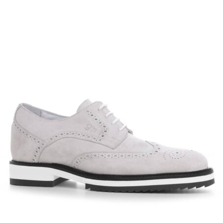 ice white suede derby shoes wingtip brogue