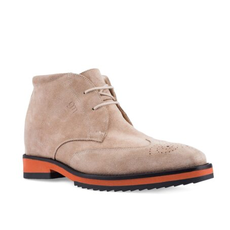 dove grey suede chukka ankle boots with floral brogue on tip 1