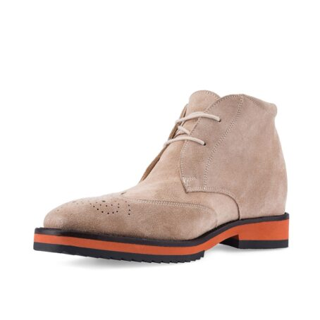 dove grey suede chukka ankle boots with floral brogue on tip 3
