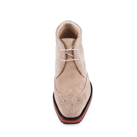 dove grey suede chukka ankle boots with floral brogue on tip 4