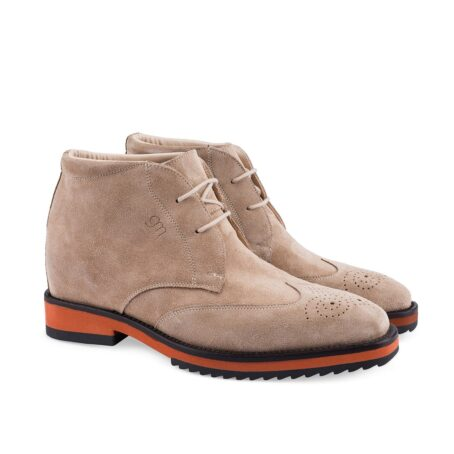 dove grey suede chukka ankle boots with floral brogue on tip 5