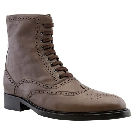 brown burnished wingtip brogue boots 1