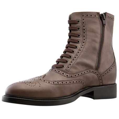 brown burnished wingtip brogue boots 3