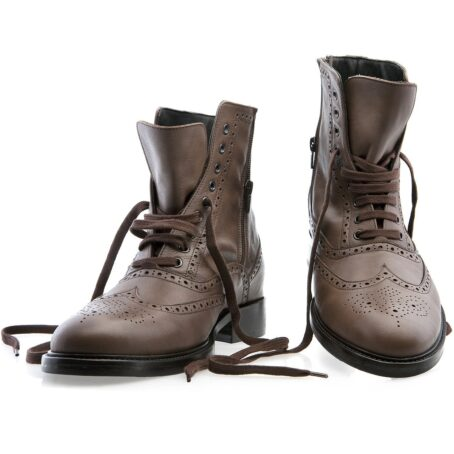 brown burnished wingtip brogue boots 5