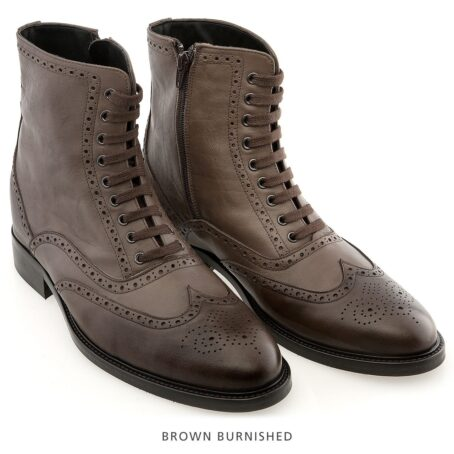 brown burnished wingtip brogue boots 6