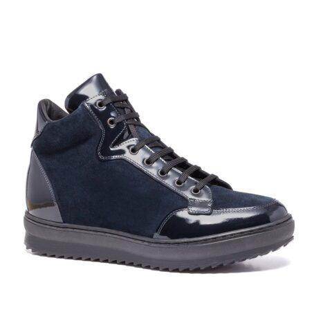 Blue suede and blue patent leather sneakers 1