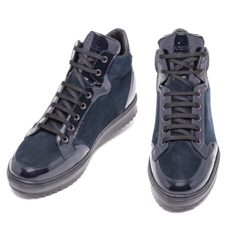 Blue suede and blue patent leather sneakers 2