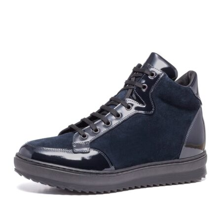 Blue suede and blue patent leather sneakers 3