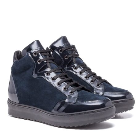 Blue suede and blue patent leather sneakers 6