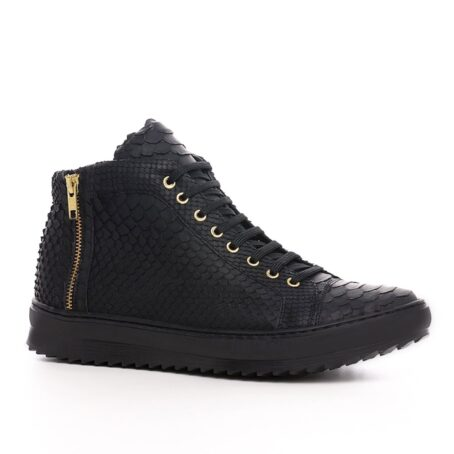 Mid-top elevator sneakers with black python skin 1