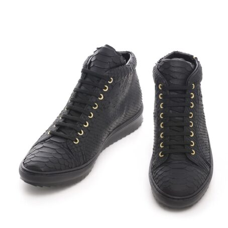 Mid-top elevator sneakers with black python skin 2