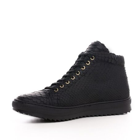 Mid-top elevator sneakers with black python skin 3