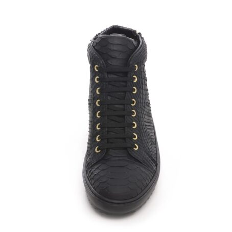 Mid-top elevator sneakers with black python skin 4