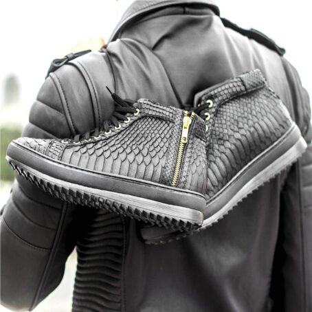 Mid-top elevator sneakers with black python skin 5
