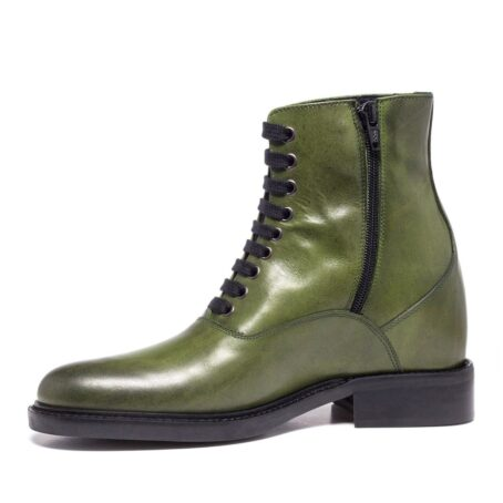 olive green classic boots made in leather 3