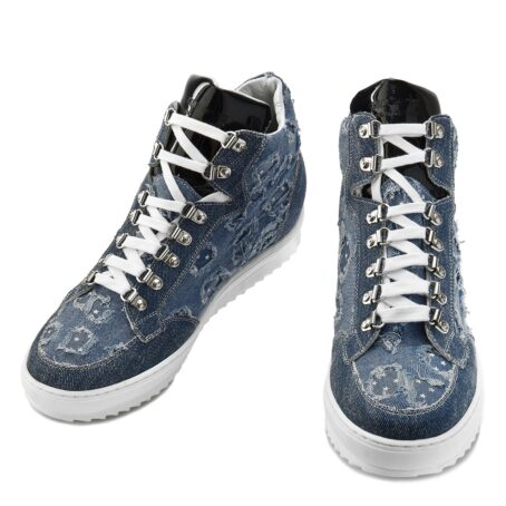 denim sneakers with patent tongue and stars decorations 2