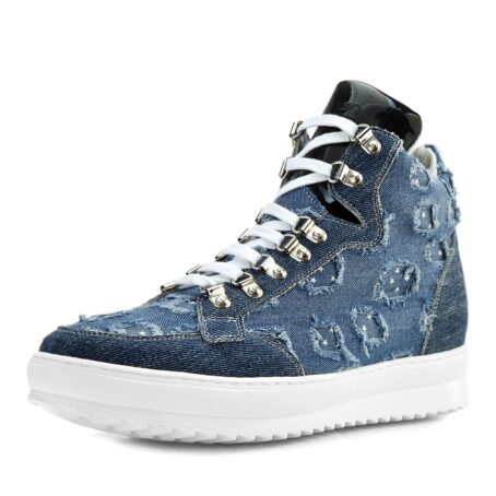 denim sneakers with patent tongue and stars decorations 3