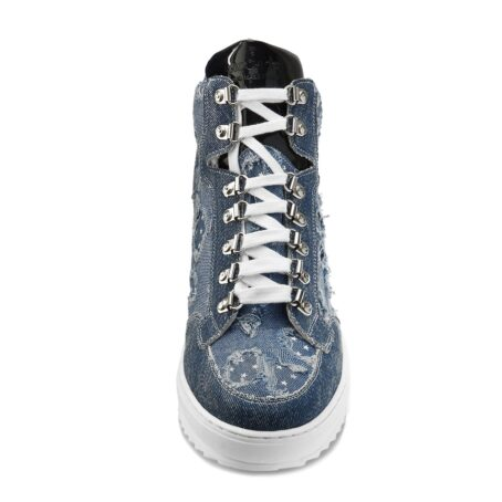 denim sneakers with patent tongue and stars decorations 4