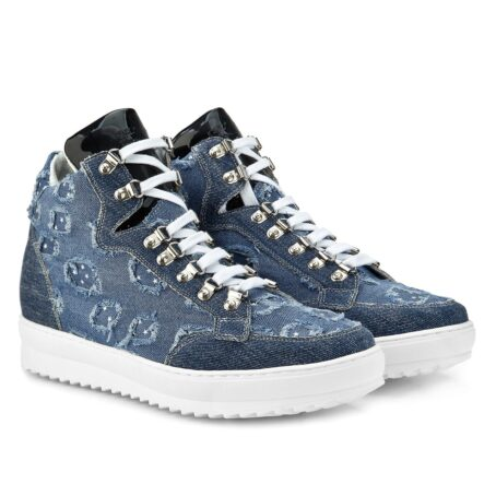 denim sneakers with patent tongue and stars decorations 5