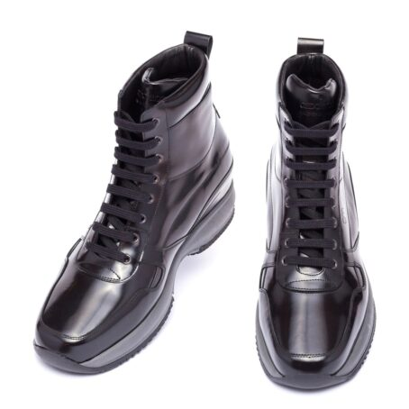 shiny black mid-top sneakers 2
