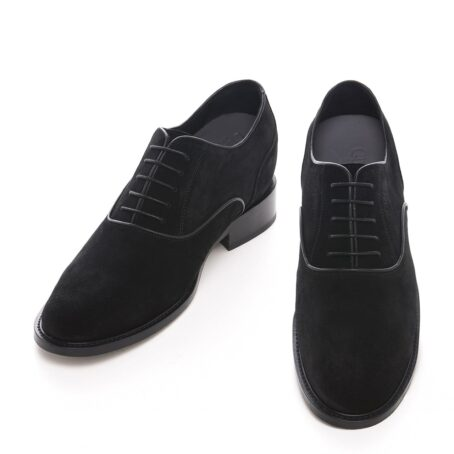 dark suede oxford dress shoes with shiny finishes 2