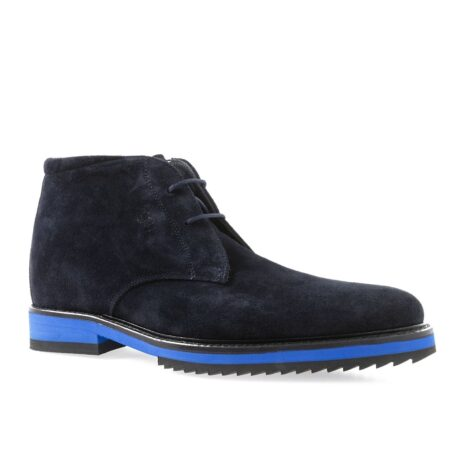 dark blue suede chukka ankle boots with brilliant blue outsole 1