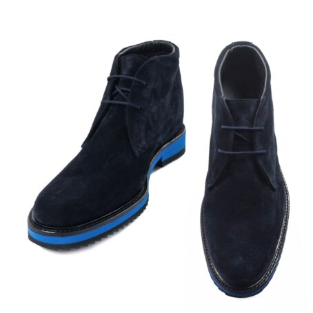 dark blue suede chukka ankle boots with brilliant blue outsole 2