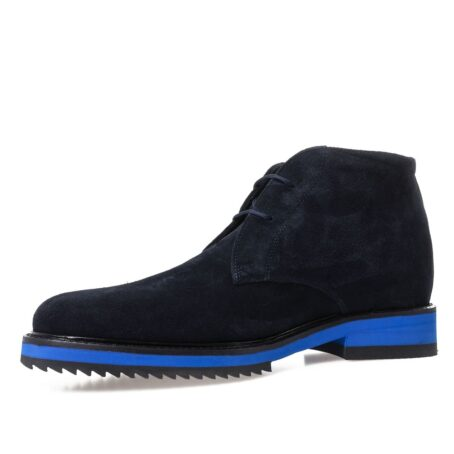 dark blue suede chukka ankle boots with brilliant blue outsole 3