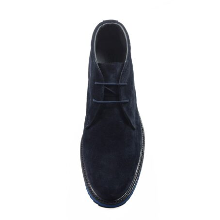 dark blue suede chukka ankle boots with brilliant blue outsole 4