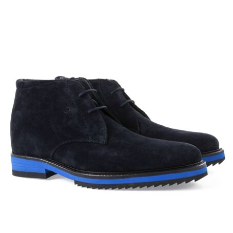 dark blue suede chukka ankle boots with blue