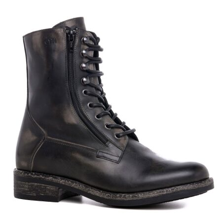 men's boots made in aged effect leather with laces and visible zip 1