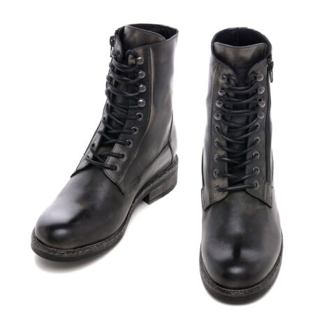 men's boots made in aged effect leather with laces and visible zip 2