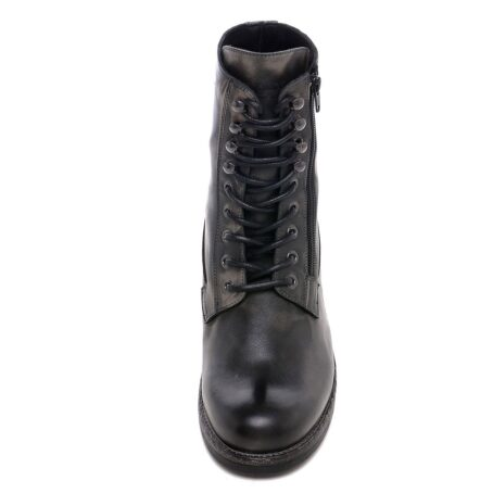 men's boots made in aged effect leather with laces and visible zip 4