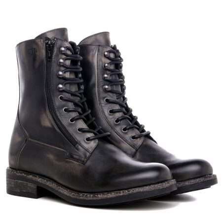 men's boots made in aged effect leather with laces and visible zip 5
