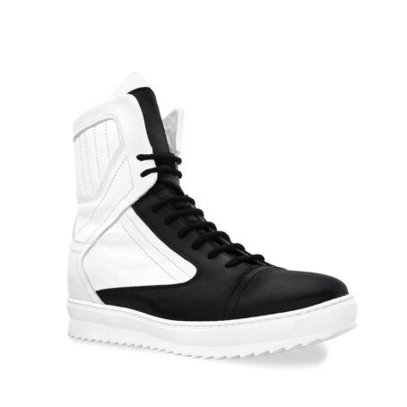 black and white mid-cut sneakers 1