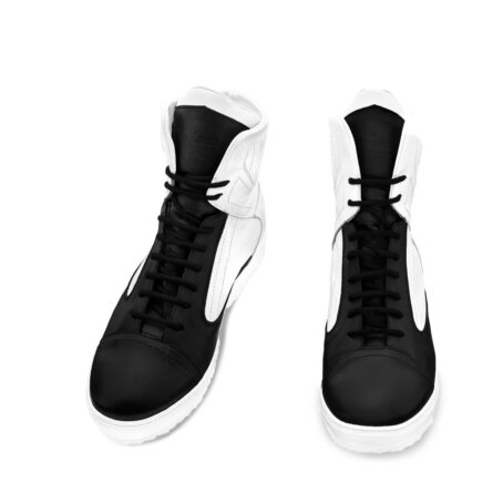 black and white mid-cut sneakers 2