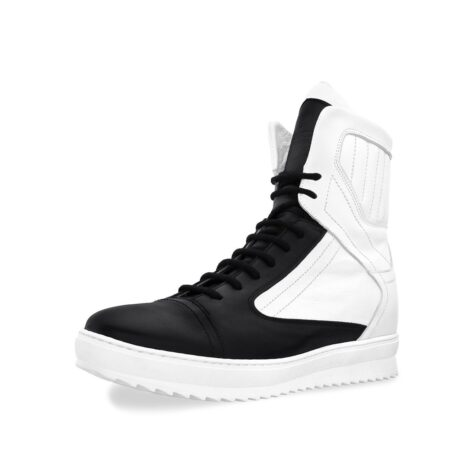 black and white mid-cut sneakers 3