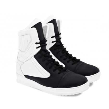 black and white mid-cut sneakers 5