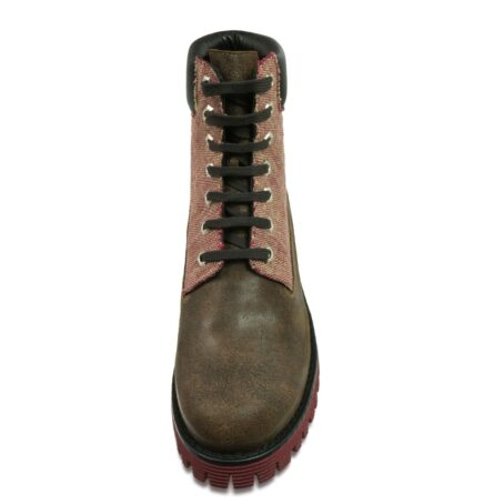 boots in waxed green leather and cotton fabric with red shades 4