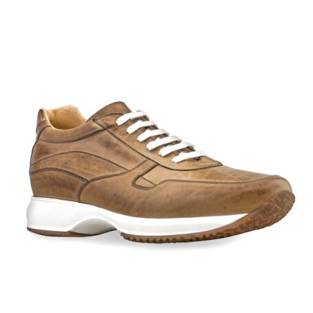 cognac leather sneakers vinage effect 1
