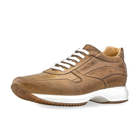 cognac leather sneakers vinage effect 3