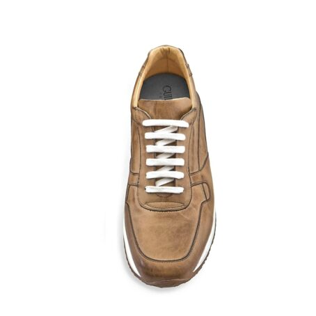cognac leather sneakers vinage effect 4