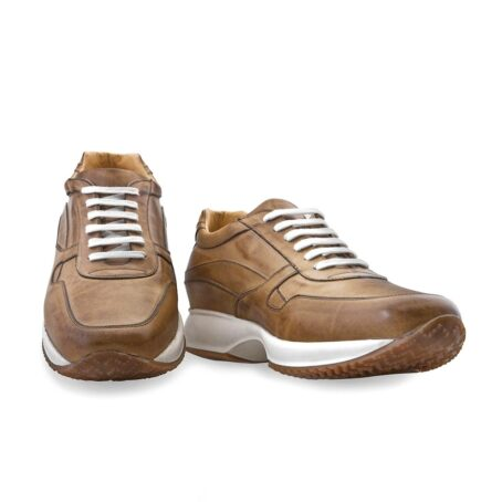 cognac leather sneakers vinage effect 5