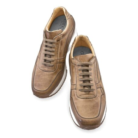 cognac leather sneakers vinage effect 6