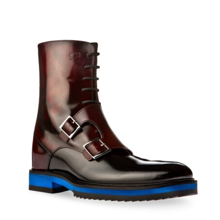 shiny bordeaux and black boots with double buckles 1